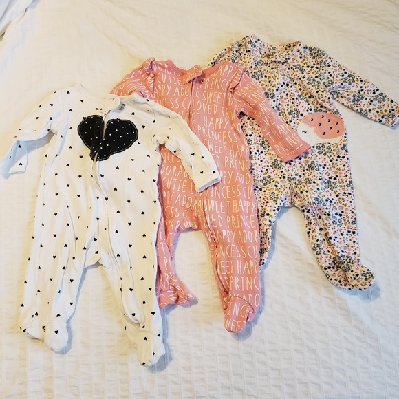 Carters Girl L//S Love Top Hearts allover Bottoms 2-Piece PJ Set White//Pink